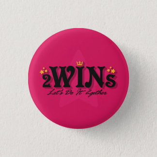 twins pink 3 cm round badge