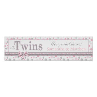 TWINS Pink Gray Dots Baby Shower Banner Poster