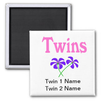 Twins (Pink) Square Magnet