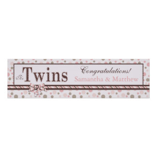 TWINS Pink Taupe Dots Baby Shower Banner Poster