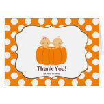 Twins Pumpkin Thank You Note Card Girl Boy