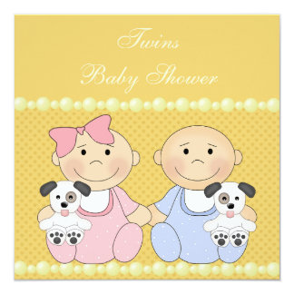 Twins & Puppies Yellow Baby Shower Card