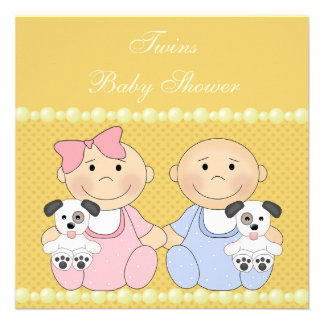 Twins & Puppies Yellow Baby Shower Invite