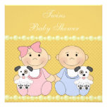 Twins & Puppies Yellow Baby Shower Personalised Invitation