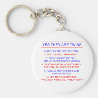 Twins Questions Fraternal Basic Round Button Key Ring