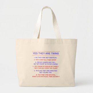 Twins Questions Fraternal Jumbo Tote Bag
