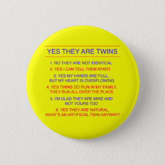 Twins Questions Fraternal Yellow 6 Cm Round Badge