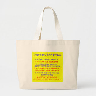 Twins Questions Fraternal Yellow Tote Bag
