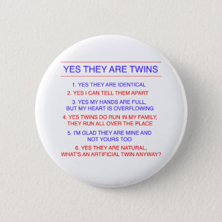 Twins Questions Identical 6 Cm Round Badge