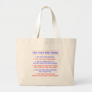 Twins Questions Identical Large Tote Bag