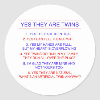 Twins Questions Identical Round Sticker