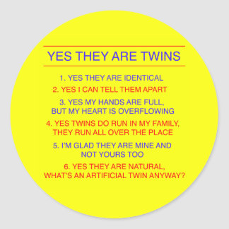 Twins Questions Identical yellow Round Sticker