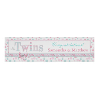TWINS Retro Pink Aqua Dots Baby Shower Banner Poster