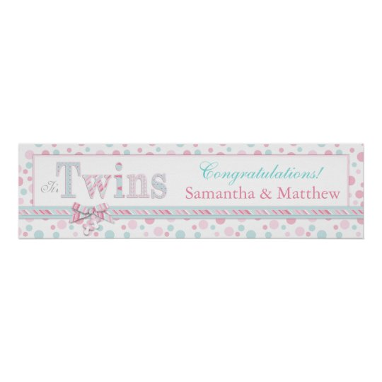 TWINS Retro Pink Aqua Dots Baby Shower Banner
