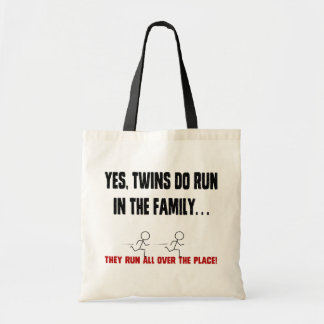 TWINS RUN IN THE FAMILY BUDGET TOTE BAG