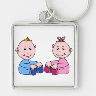 TWINS Silver-Colored SQUARE KEY RING