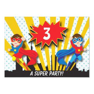 Twins Superhero Birthday 13 Cm X 18 Cm Invitation Card