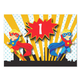 Twins Superhero Birthday  |  Blonde 13 Cm X 18 Cm Invitation Card