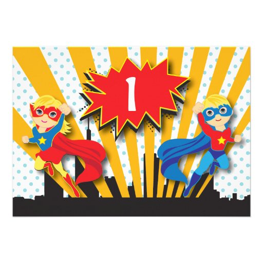 Twins Superhero Birthday  |  Blonde Personalized Invitations