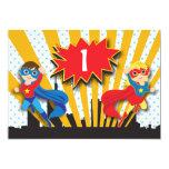 Twins Superhero Birthday  | Boy and Girl 13 Cm X 18 Cm Invitation Card