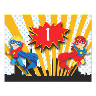 Twins Superhero Birthday  | Boy and Girl Custom Invitation