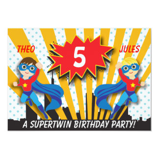 Twins Superhero Birthday   Boys Brown/Blonde Hair 13 Cm X 18 Cm Invitation Card