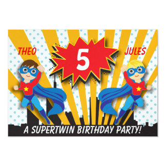 Twins Superhero Birthday | Boys Brown/Blonde Hair Card