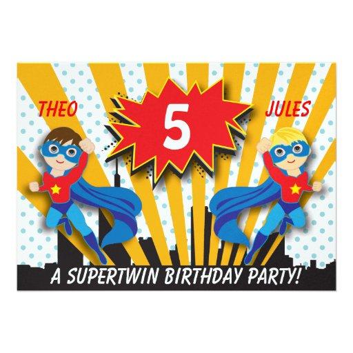 Twins Superhero Birthday   Boys Brown/Blonde Hair Custom Announcement