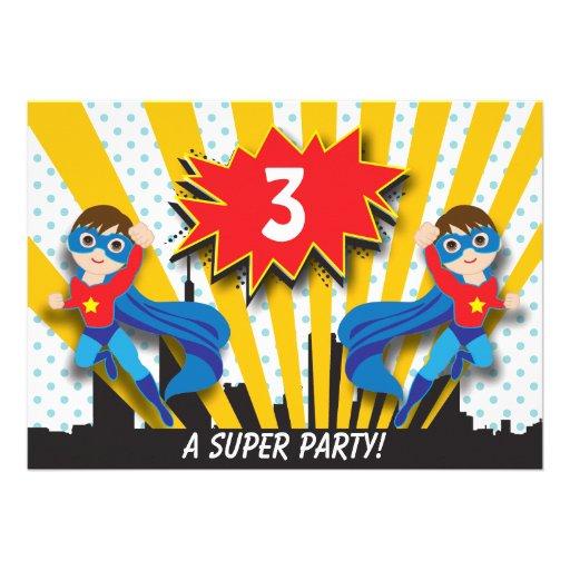 Twins Superhero Birthday  |  Boys Brown Hair Personalized Invite