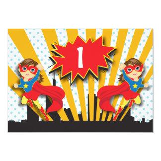 Twins Superhero Birthday  |  Brown Hair Girls 13 Cm X 18 Cm Invitation Card