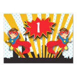 Twins Superhero Birthday     Brown Hair Girls 13 Cm X 18 Cm Invitation Card