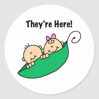Twins They're Here Round Sticker