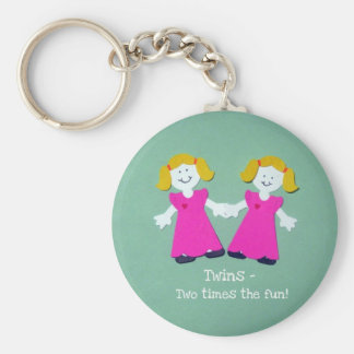 Twins - two times the fun! basic round button key ring