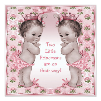 Twins Vintage Princess Pink Roses Baby Shower 13 Cm X 13 Cm Square Invitation Card