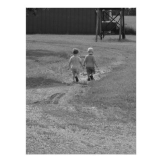 twins walking black and white poster