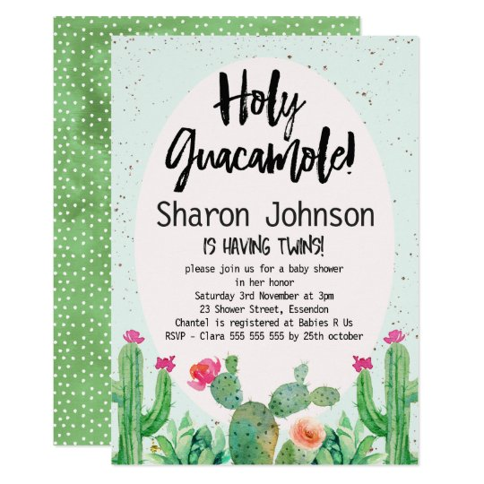 Twins Watercolor Cactus Baby Shower Invitation