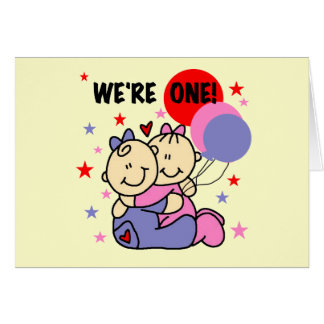 Twins We re One Birthday Tshirts and Gifts Greeting Card