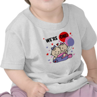 Twins We re One First Birthday Tee Shirts