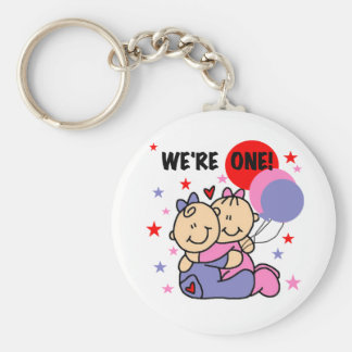 Twins We're One Birthday Tshirts and Gifts Key Ring