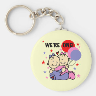 Twins We're One Birthday Tshirts and Gifts Key Chains