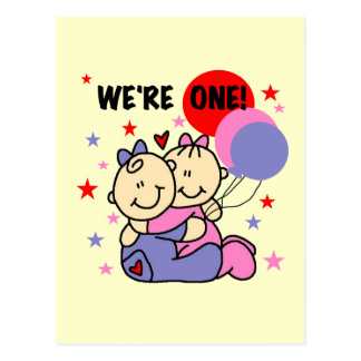Twins We're One Birthday Tshirts and Gifts Post Cards