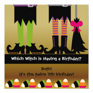 Twins Witch Halloween Birthday Party Invite