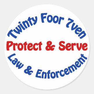 Twinty Foor 7ven Law Enforcement Round Sticker