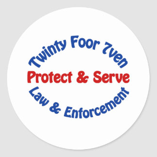 Twinty Foor 7ven Law Enforcement Round Stickers