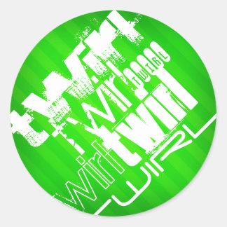 Twirl; Neon Green Stripes Classic Round Sticker