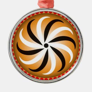 Twirl shield design Silver-Colored round decoration