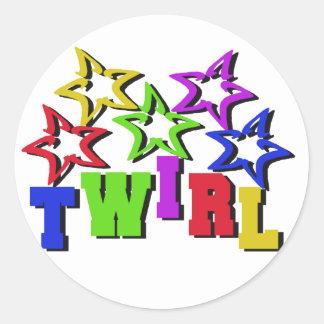 Twirl Stars Classic Round Sticker