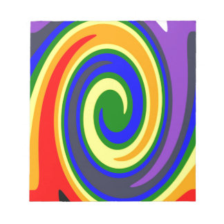 Twirl Waves Rainbow of Colors, ROYGBIV Design Notepads