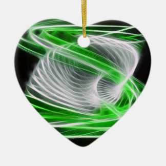 Twisted 1 Green Ceramic Heart Decoration