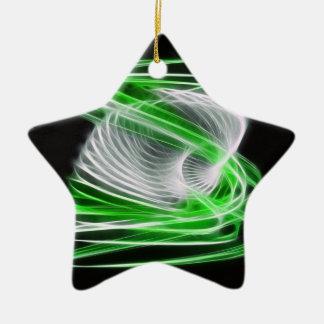 Twisted 1 Green Ceramic Star Decoration